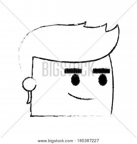 blurred silhouette image side view face cartoon guy with expression of satisfaction vector illustration