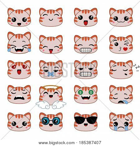 Set of cute cat emoticons. Smile icon set.