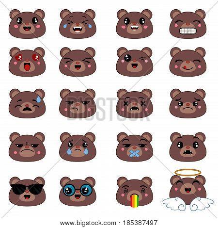 Set of cute bear emoticons. Smile icon set.