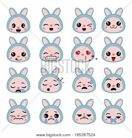 Set of cute hare emoticons. Smile icon set.