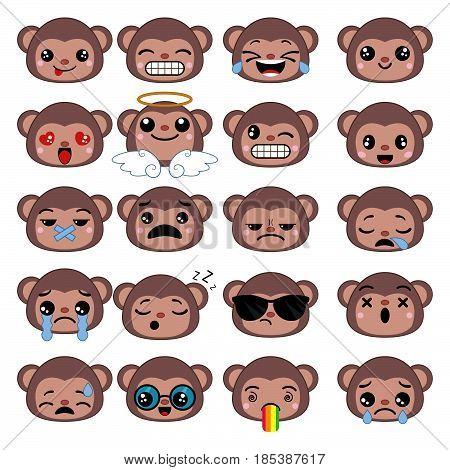 Set of cute monkey emoticons. Smile icon set.