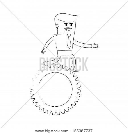 blurred silhouette image cartoon business man riding a gear vector illustration