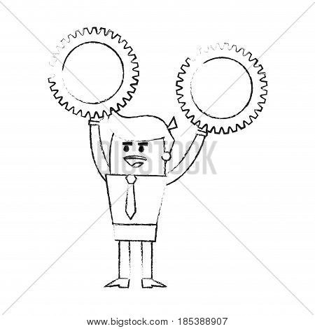blurred silhouette image cartoon business man holding a gears vector illustration