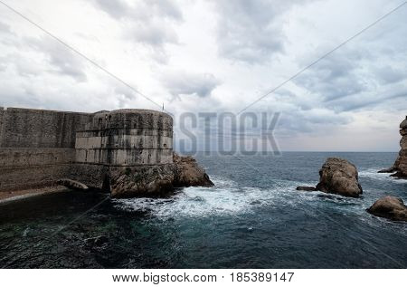 DUBROVNIK, CROATIA - NOVEMBER 07: Fort Bokar is the key point in the defense of the Pila Gate in Dubrovnik, Croatia on November 07, 2016.
