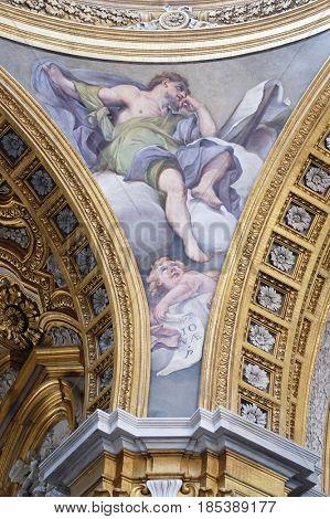 ROME, ITALY - SEPTEMBER 03: Fresco of prophet of Jonah, Basilica dei Santi Ambrogio e Carlo al Corso, Rome, Italy on September 03, 2016.