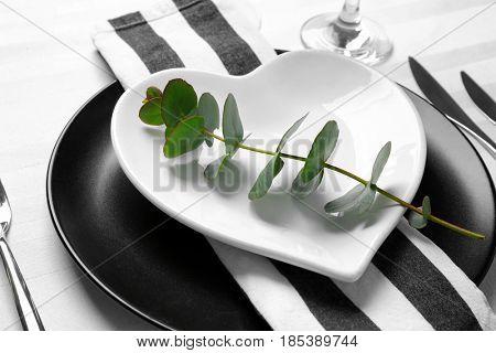 Beautiful romantic table setting, closeup