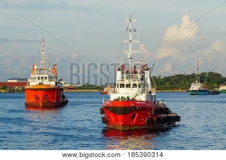 Labuan,Malaysia-May 7,2015:Offshore oil & gas support vessel in Labuan,Malaysia.All the vessels in Labuan island,most related to the offshore Oil & Gas industry.
