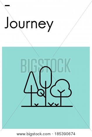 Route Holiday Discover Journey Forest Nature Icon