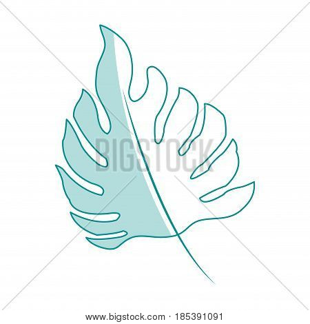 blue silhouette image irregular green leaf with stem vector illustration