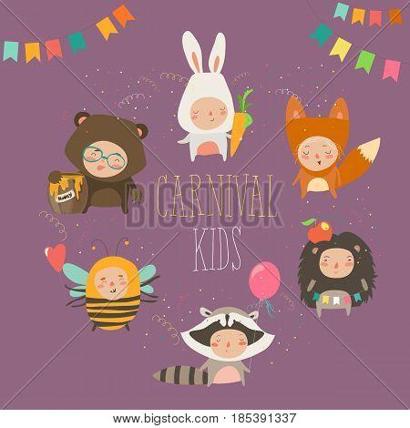 Set of cute kids wearing animal costumes. Vector illustration