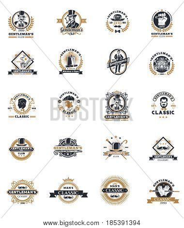 Set of vintage gentleman emblems, labels, icons, signage and design elements.