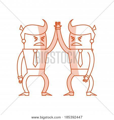 red silhouette image cartoon business men in discussion vector illustration