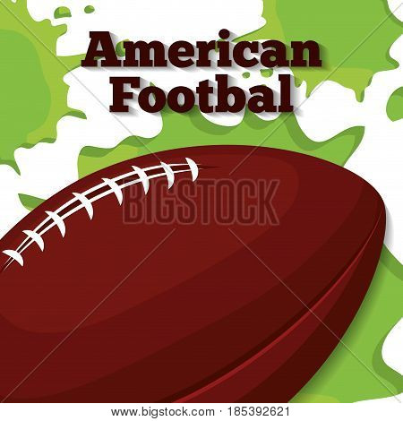 american football ball icon over green paint splashes and white background. colorful design. vector illustration