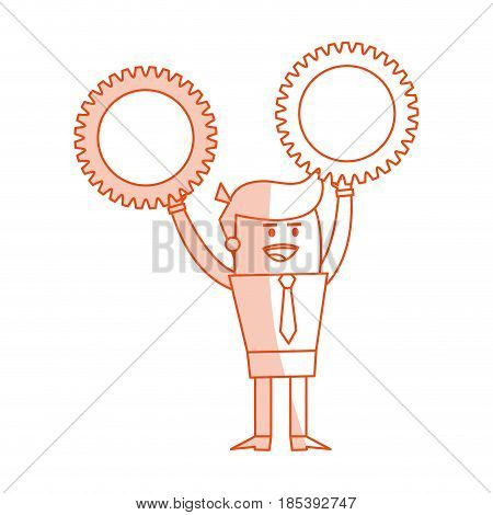 red silhouette image cartoon business man holding a gears vector illustration