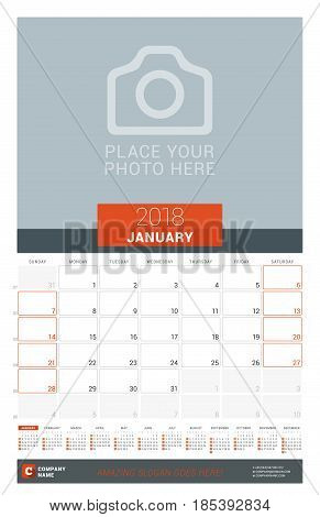 January 2018. Wall Monthly Calendar Planner For 2018 Year. Vector Design Print Template With Place F