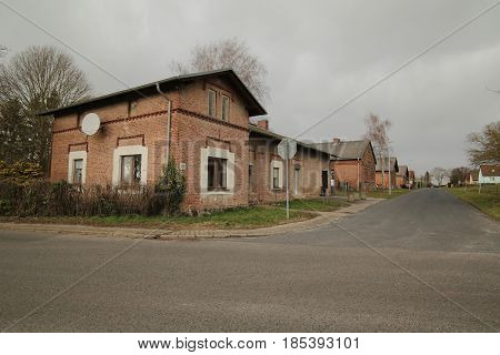 Row Of Houses Listed As Monuments In Dargezin, Mecklenburg-vorpommern, Germany