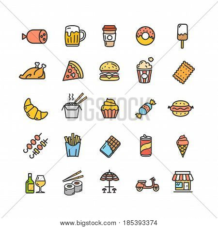 Fastfood and Street Food Color Thin Line Icon Set Symbol of Tasty Snack Isolated on White Background. Vector illustration