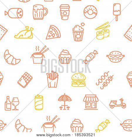 Fastfood and Street Food Pattern Background on White Candy, Drinks and Snacks. Vector illustration