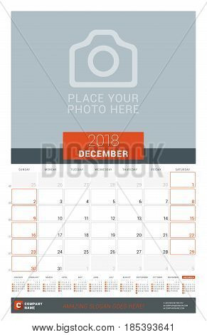 December 2018. Wall Monthly Calendar Planner For 2018 Year. Vector Design Print Template With Place