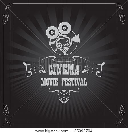 Vector cinema movie festival poster with old fashioned movie camera. Can used for banner poster web page background