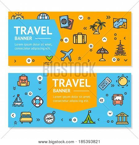 Travel Flyer Banner Placard Horizontal Set witch Outline Icons Discover Landmark and Monument of World. Vector illustration