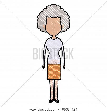 drawing woman character female standing design vector illustraton