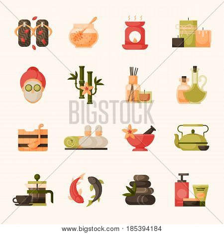 Vector illustrations of beautiful woman spa massage treatment, beauty procedures wellness icons. Herbal cosmetics aroma candles stones towels and lotus flower. Relaxation health herbal elements.