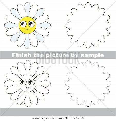 Drawing worksheet for preschool kids with easy gaming level of difficulty, simple educational game for kids to finish the picture by sample and draw the Funny Daisy Face