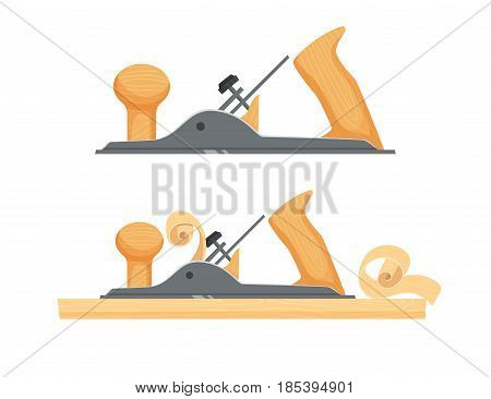 Planed wood board a plane. Repair tool. Joinery or carpentry instruments. Woodworking process vector illustration. Handmade with jackplane isolated on white.