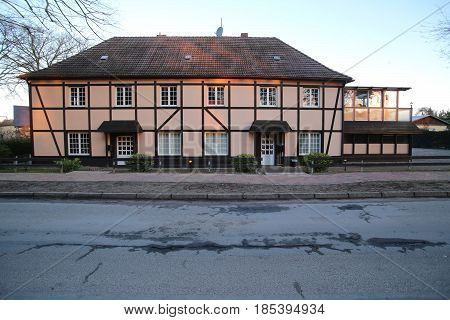 Half-timbered Two-storey House In Weitenhagen, Mecklenburg-vorpommern, Germany