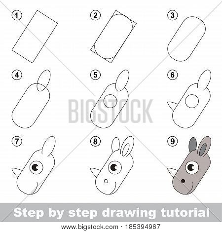 Kid game to develop drawing skill with easy gaming level for preschool kids, drawing educational tutorial for Rhino Face