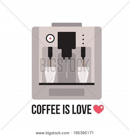 Coffee machine on white background Vector illustration