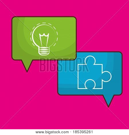 speech bubbles with bulb and jigsaw puzzle icon over pink background. colorful design. vector illustration