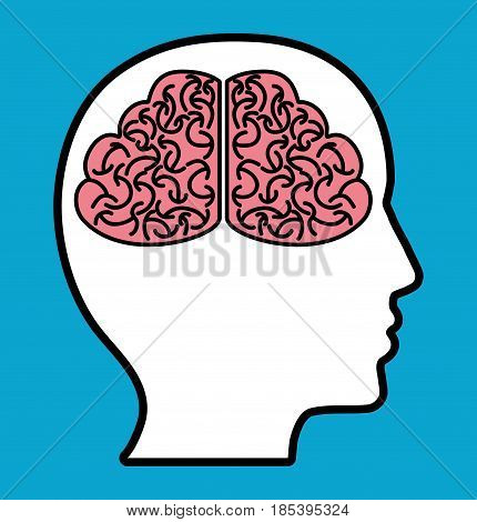 head with brain icon over blue background. colorful design. vector illustration