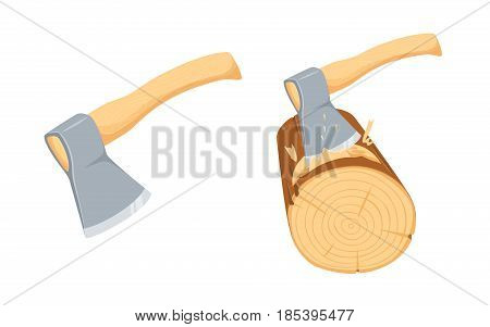 Chopping ax log. Repair tool. Joinery, woodcutter, lumberjack, builder or carpenter instruments. Woodworking process vector illustration. Handmade with hatchet isolated on white.