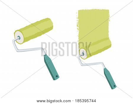 Painting a wall with a roller. Repair tool. Painter instruments. Home work process vector illustration isolated on white.