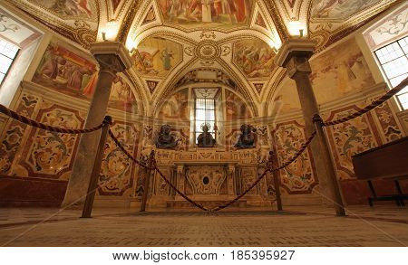 SALERNO ITALY - APRIL 23 2017: Baroque interior of the of San Matteo (St. Matthew) Cathedral the martyrs altar in the crypt