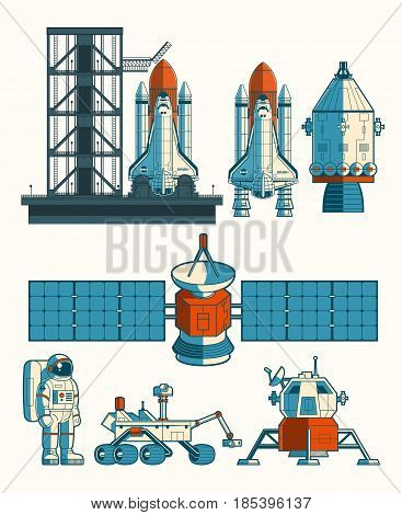 Set flat illustration of a rocket is ready for launch, space station, the rover, astronav isolated on white.
