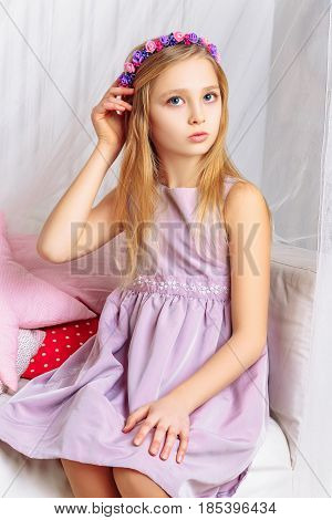 Beautiful Little Girl With Perfect Makeup And Hair-dress