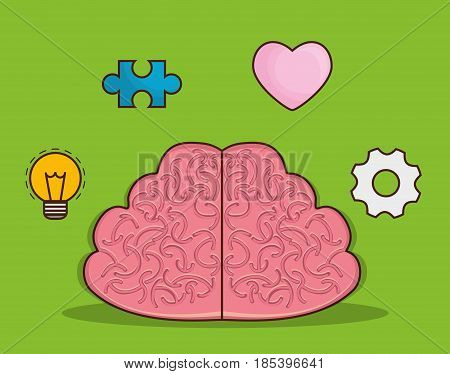 brain and intelligence related icons over green background. colorful design. vector illustration