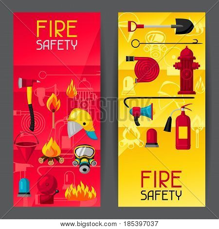 Banners with firefighting items. Fire protection equipment.