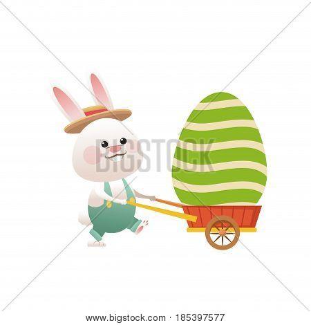 easter rabbit with decor egg wheelbarrow vector illustration