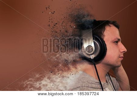 Profile Of A Man With Headphones, Isolated. Particulate Particles From The Headphones