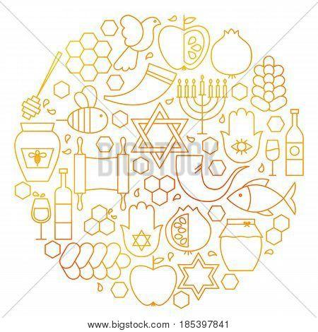 Rosh Hashanah Line Icon Circle. Vector Illustration of Jewish New Year Objects.