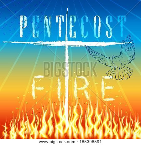Pentecost fire. Trinity holiday.  Rays and pigeon as a symbol of the holy spirit. Vector design.