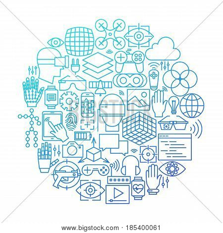 Virtual Reality Line Icon Circle Design. Vector Illustration of Technology Augmented Reality Objects.