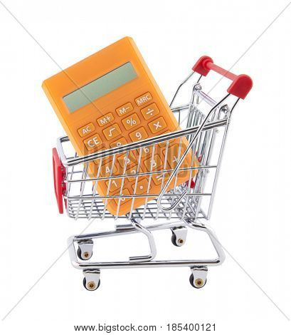 Shopping cart with orange calculator isolated on white background