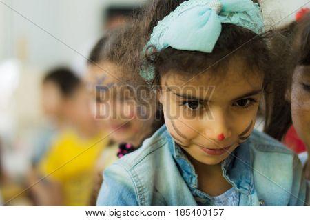 Eskisehir, Turkey - May 05, 2017: Preschool Little Girl Wearing Blue Jacket Enjoying Being With Her