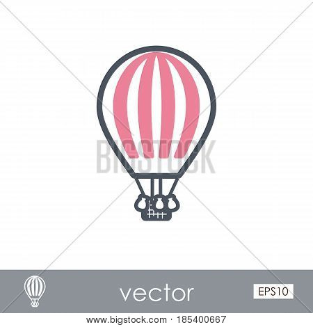 Hot Air Balloon outline vector icon. Travel. Summer. Summertime. Holiday. Vacation eps 10