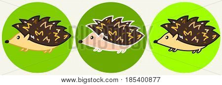 Cute cartoon colorful hedgehog icons, funny childish hedgehog